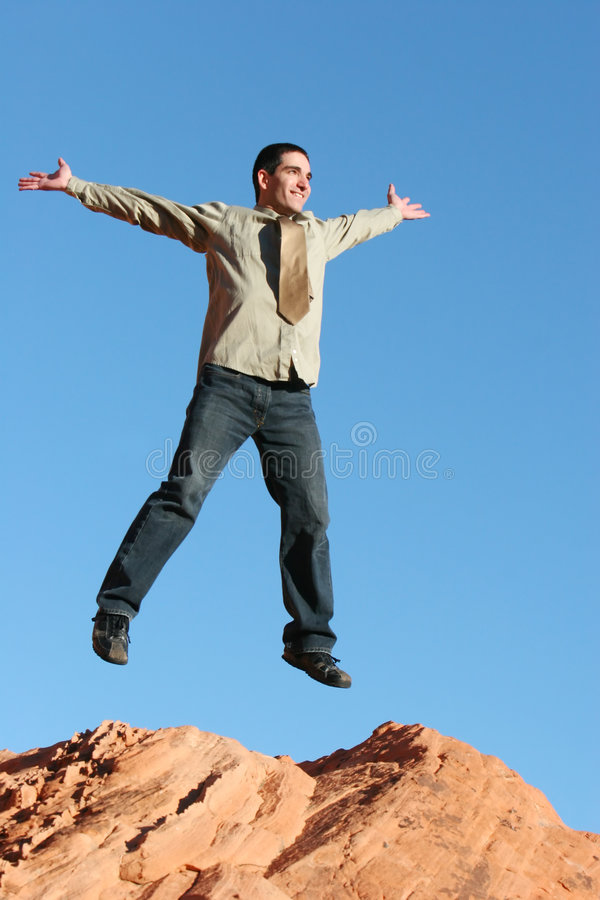 Download Ecstatic Businessman Jumping Stock Photo - Image: 2608748