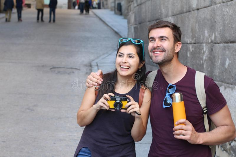 Ecstatic couple showing admiration during a vacation.  stock photos