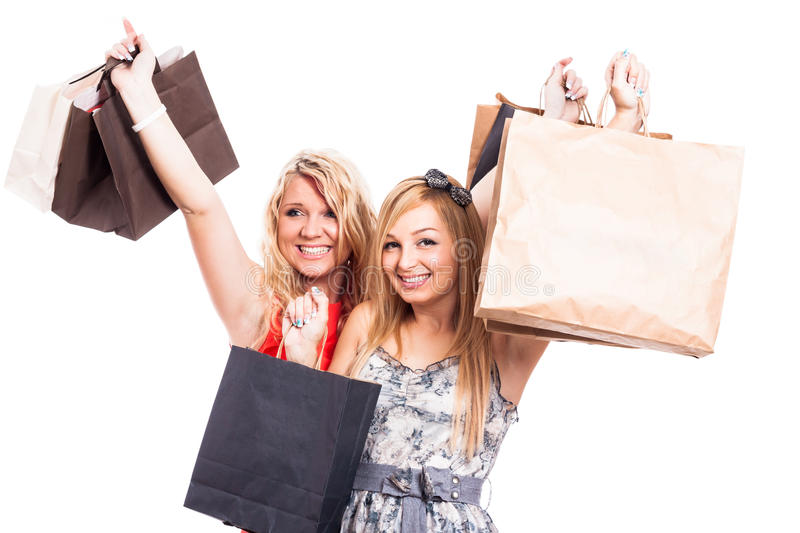 Download Ecstatic Girls With Shopping Bags Stock Image - Image: 32516875