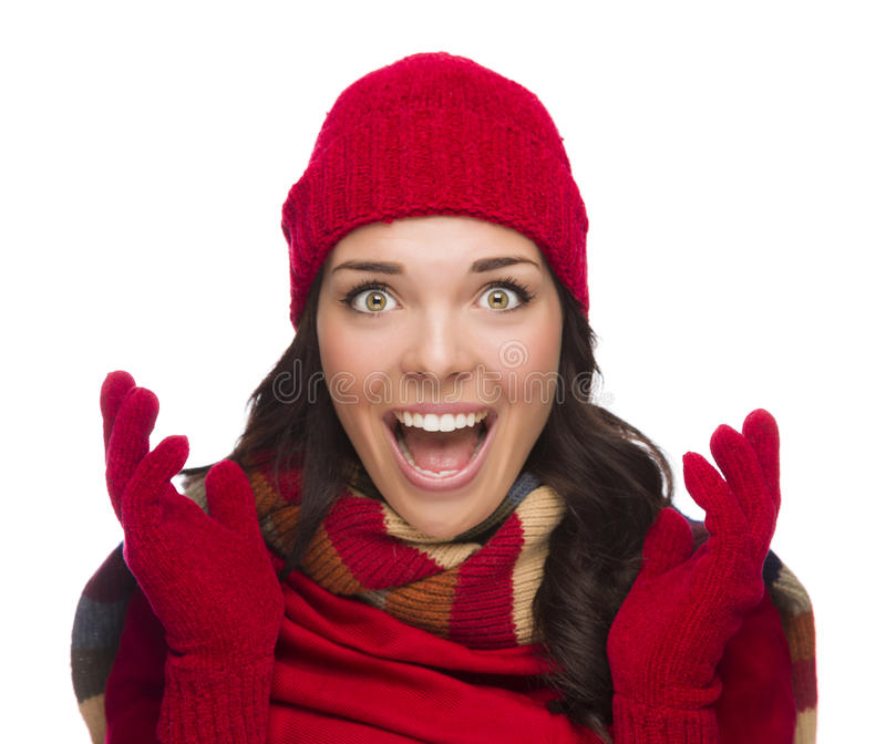 Ecstatic Mixed Race Woman Wearing Winter Hat and Gloves royalty free stock photo