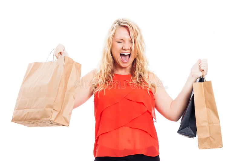 Download Ecstatic Woman With Shopping Bags Stock Image - Image: 27486267