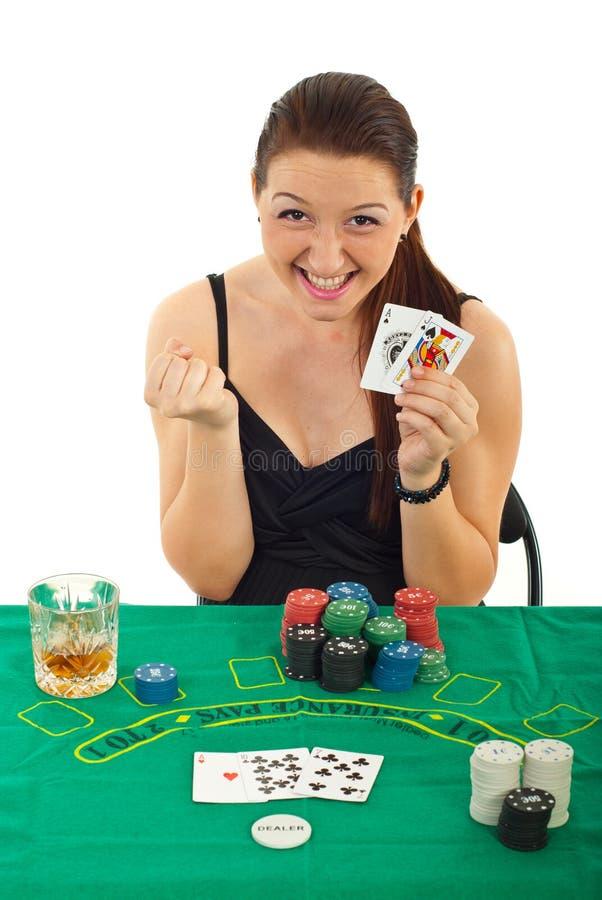 Download Ecstatic Woman Won At Black Jack Royalty Free Stock Photo - Image: 20264285