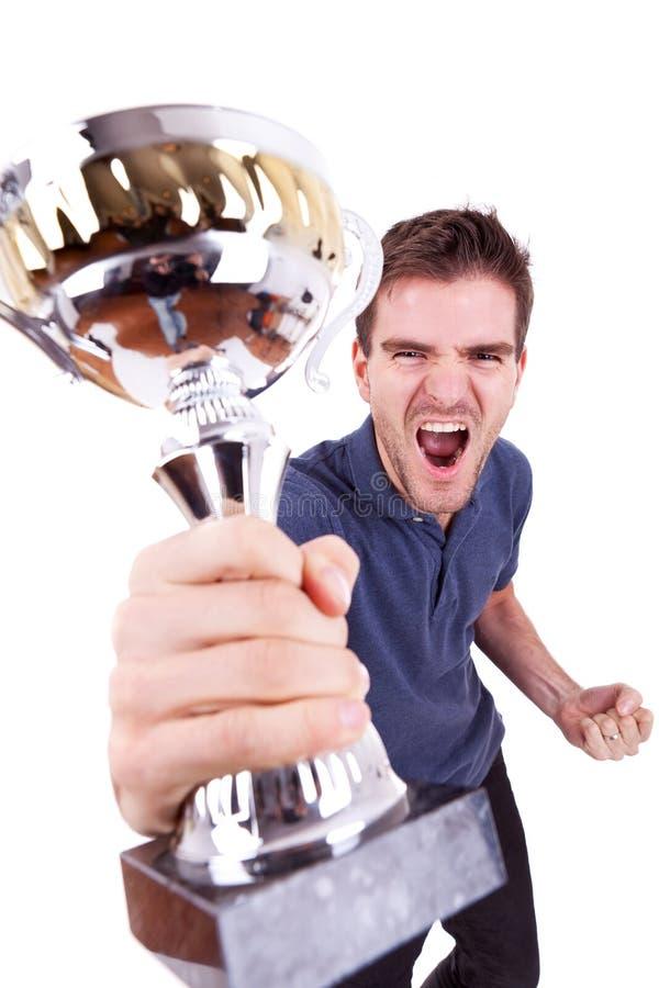 Ecstatic young man winning