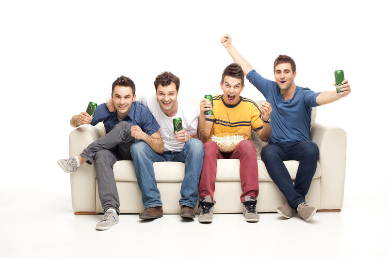 Ecstatic young men screaming stock images