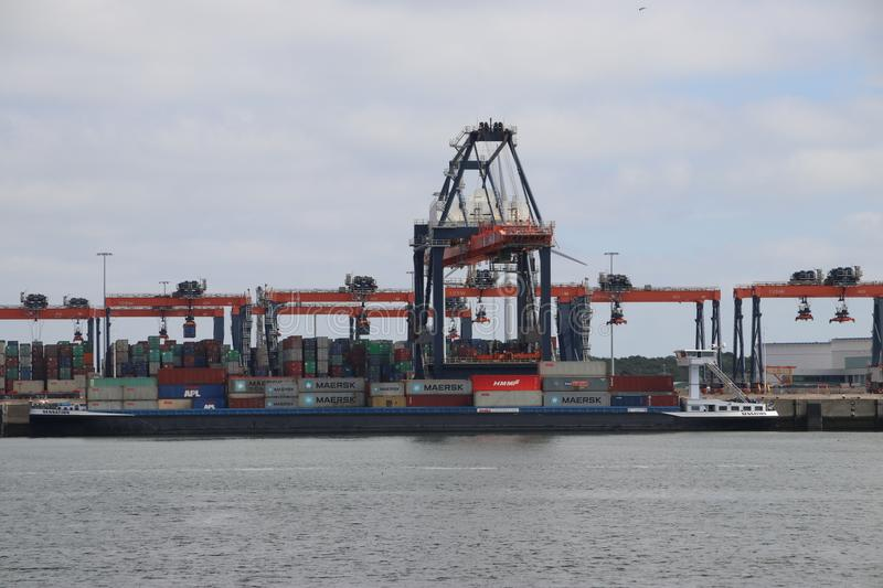 ECT seafreight container terminal on the Maasvlakte in the port of Rotterdam stock photo