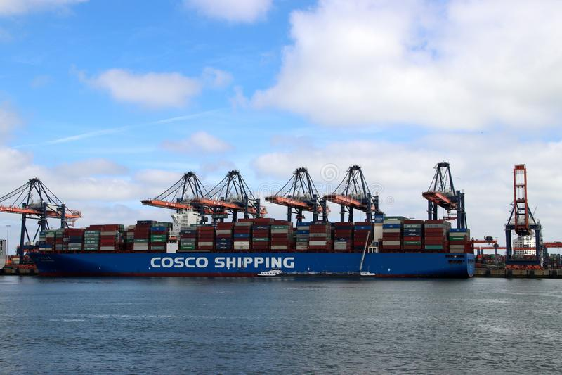 ECT seafreight container terminal on the Maasvlakte in the port of Rotterdam in the Netherland stock photography
