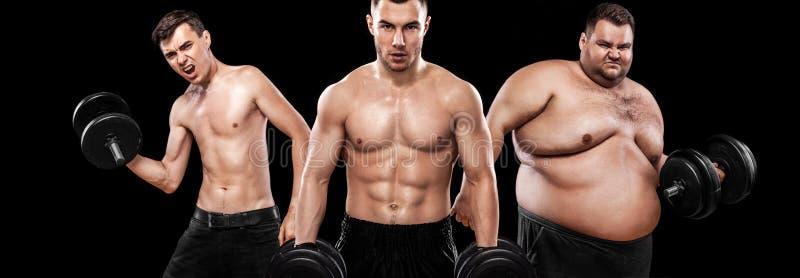 Ectomorf, mesomorph en endomorph Before and after resultaat Het concept van de sport Mensen van trio de jonge sporten - fitness m stock fotografie