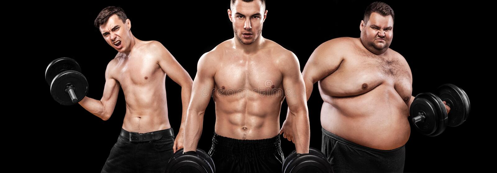 Ectomorph, mesomorph and endomorph . Before and after result. Sport concept. Group of three young sports men - fitness models hold. Before and after result stock photography