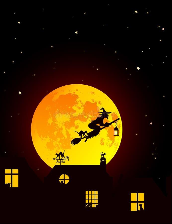 Ector-Illustration: Märchen-Halloween-Landschaft mit realistischem vollem gelb-orangeem Mond, Dorflandschaftsschattenbilder mit C stockbild