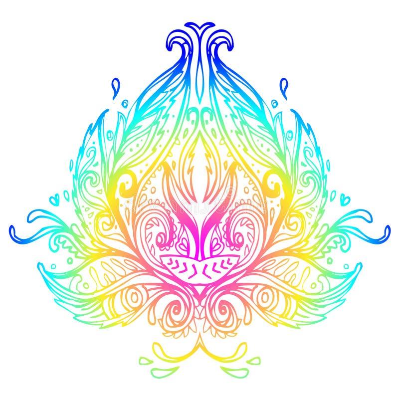 ector ornamentacyjny Lotosowy kwiat, etniczna sztuka, wzorzyści Indiańscy pais royalty ilustracja