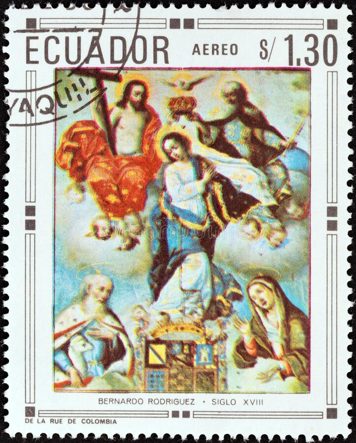 ECUADOR - CIRCA 1967: A stamp printed in Ecuador shows Coronation of the Holy Virgin by Bernardo Rodriguez, circa 1967. stock photography