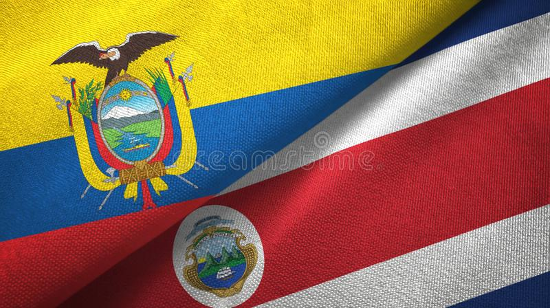Ecuador and Costa Rica two flags textile cloth, fabric texture stock illustration