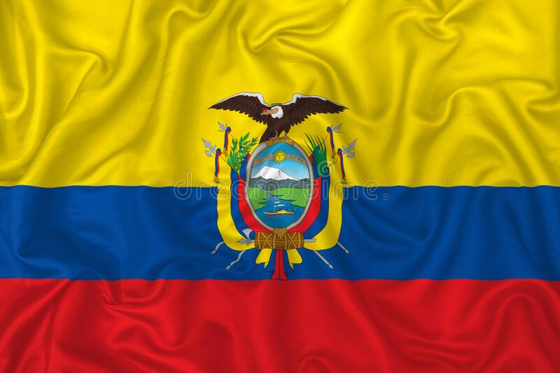 Ecuador country flag. On wavy silk textile fabric background royalty free illustration