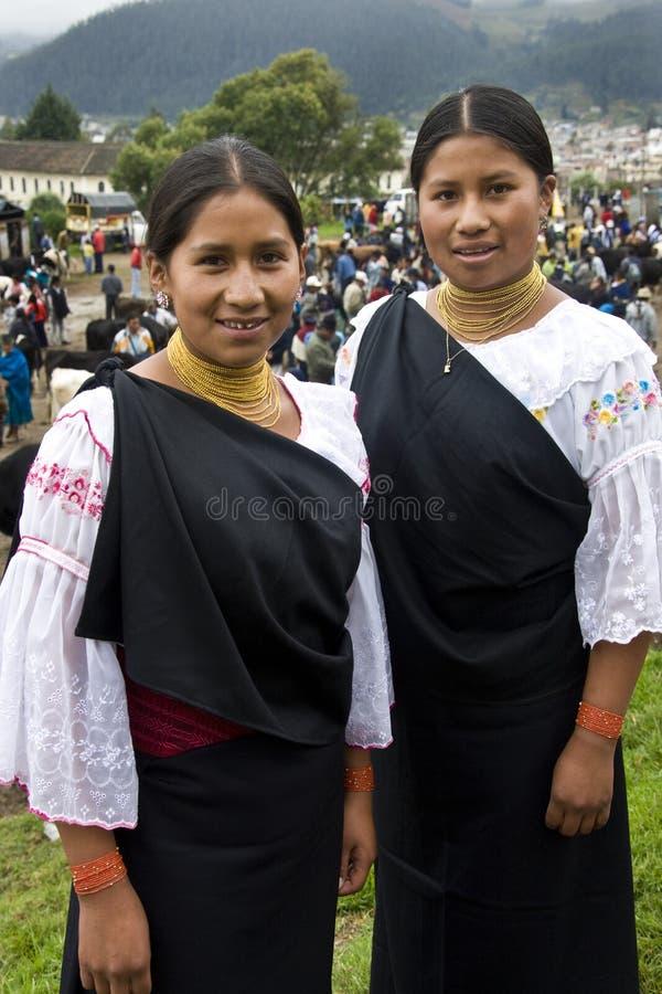 Ecuador - Ecuadorian women in Otavalo stock photography