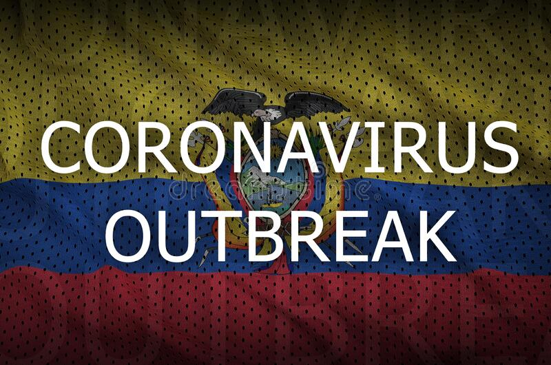 Ecuador flag and Coronavirus outbreak inscription. Covid-19 or 2019-nCov virus. Concept royalty free stock image