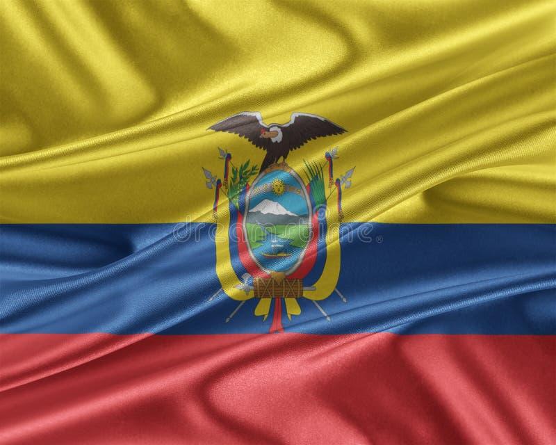 Ecuador flag with a glossy silk texture. Ecuador flag. Flag with a beautiful glossy silk texture. 3D illustration vector illustration