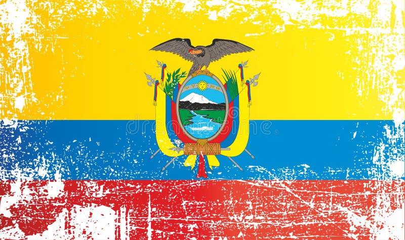ecuador flagga Rynkiga smutsiga fläckar stock illustrationer