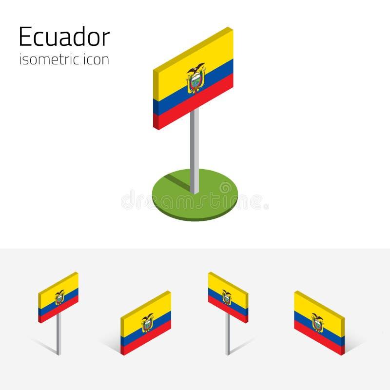 Ecuador flagga, vektoruppsättning av isometriska symboler 3D stock illustrationer