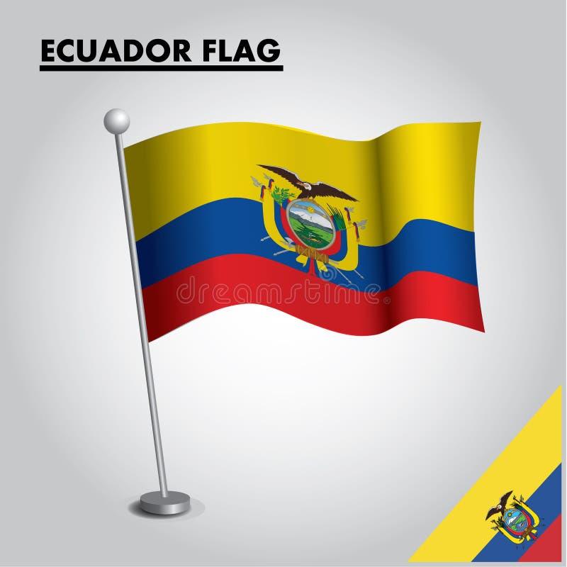 ECUADOR flagganationsflagga av ECUADOR på en pol royaltyfri illustrationer