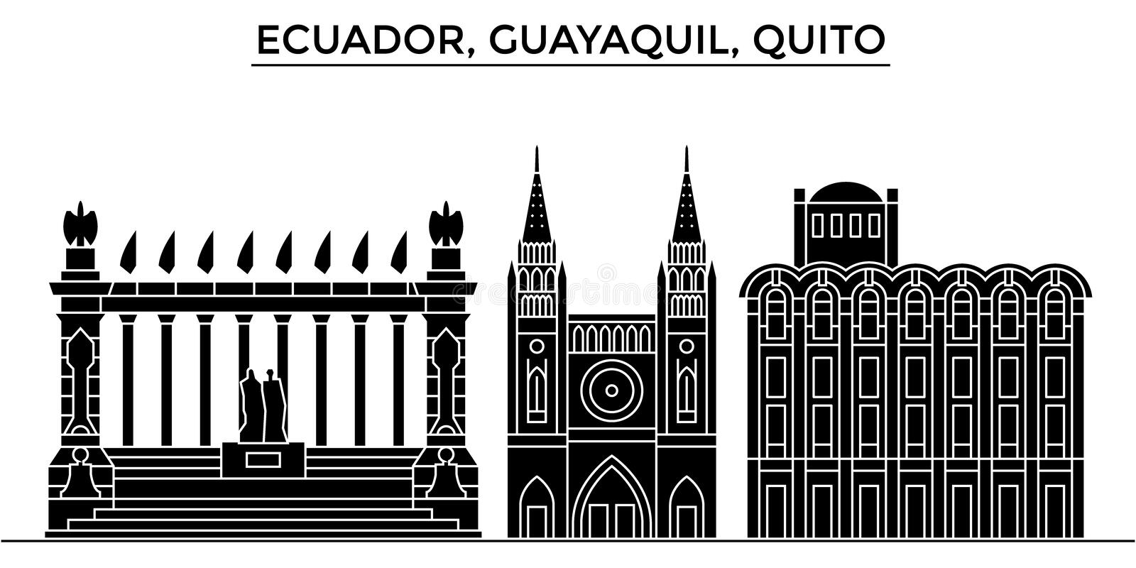 Ecuador, Guayaquil, Quito architecture vector city skyline, travel cityscape with landmarks, buildings, isolated sights stock illustration