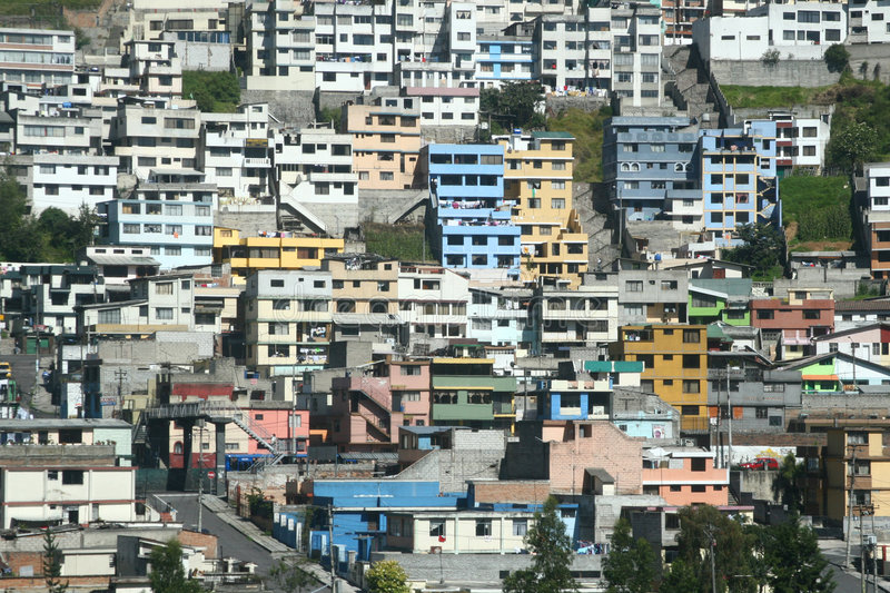 Ecuador Houses. A house-covered hill in central Ecuador showing the population density of the area royalty free stock photography