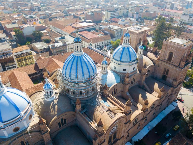 Aerial view of the domes of the cathedral Cuenca Ecuador royalty free stock photography