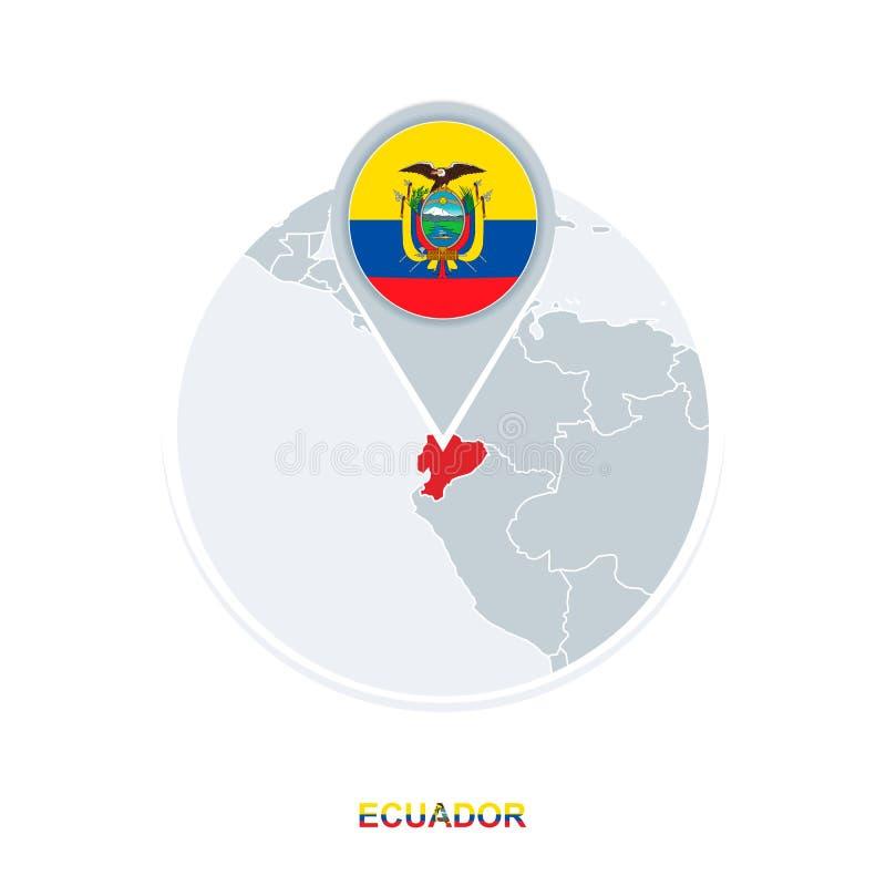 Ecuador map and flag, vector map icon with highlighted Ecuador vector illustration