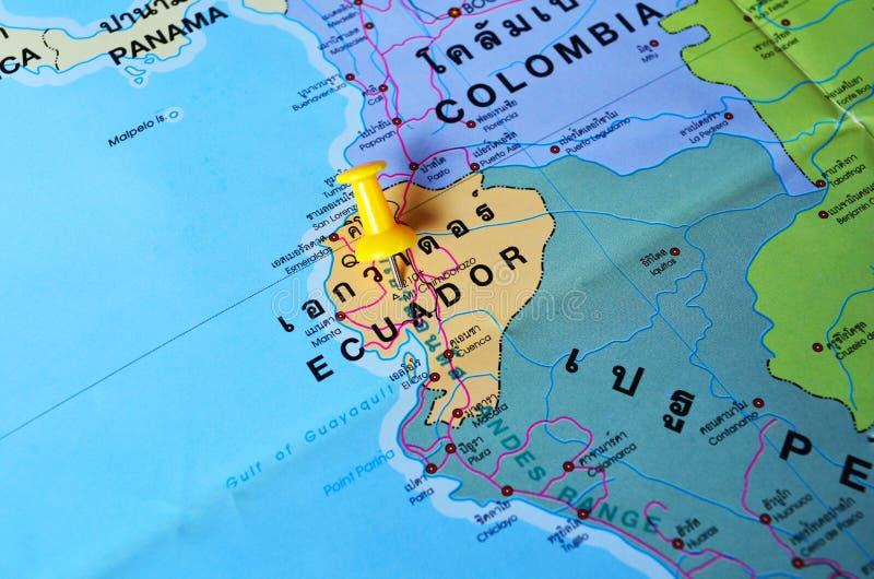 Ecuador map. Macro shot of ecuador map with push pin stock photography