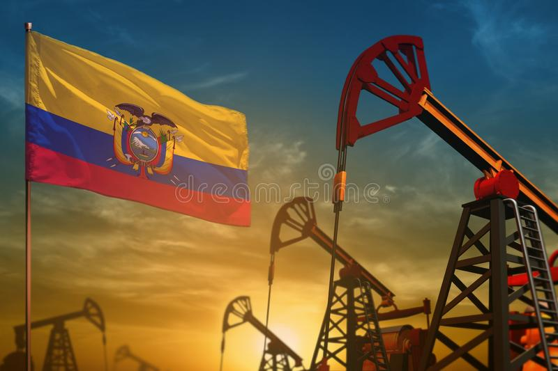 Ecuador oil industry concept. Industrial illustration - Ecuador flag and oil wells against the blue and yellow sunset sky. Ecuador oil industry concept royalty free stock images