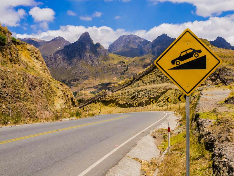 Ecuador, panoramic winding road through the andean landscape royalty free stock images