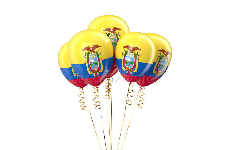 Ecuador patriotic balloons, holyday concept. Isolated on white background royalty free illustration