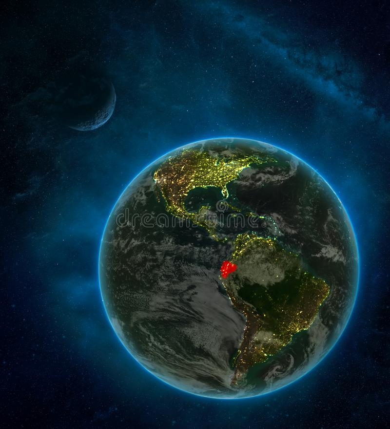 Ecuador from space on Earth at night surrounded by space with Moon and Milky Way. Detailed planet with city lights and clouds. 3D. Illustration. Elements of stock illustration
