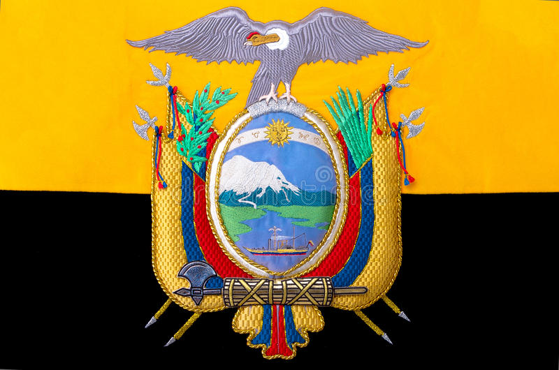 Ecuador vapensköld, skyddsremsa eller nationellt emblem, royaltyfria bilder