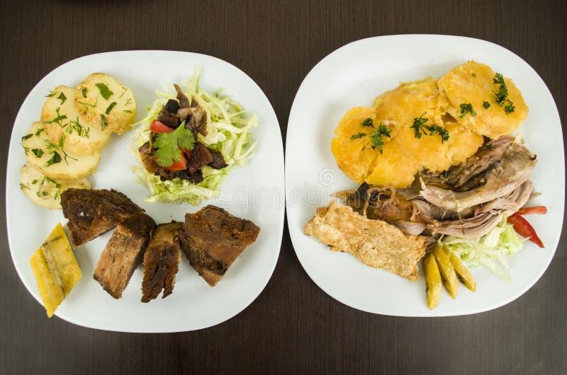 Ecuadorian asado y frito del fritada de Hornado del cerdo fotografía de archivo
