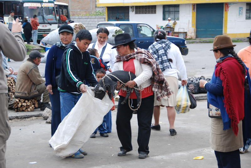 Ecuadorian people in a local market royalty free stock photo