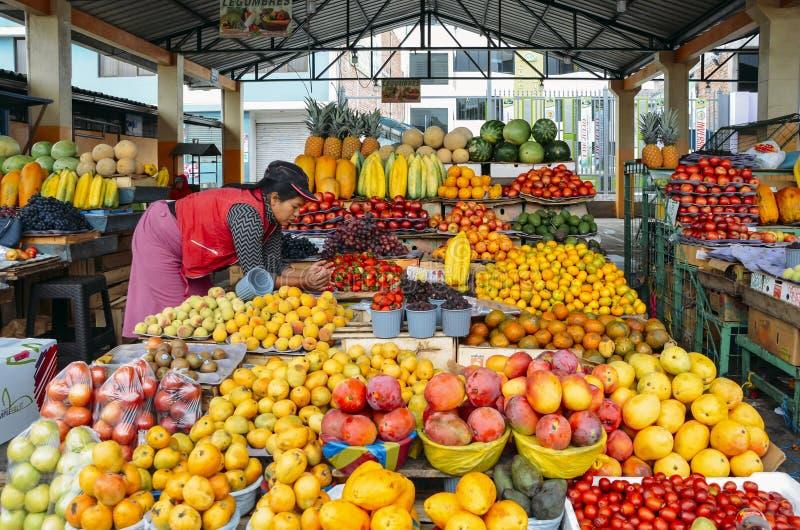 Ecuadoriansk kvinnafruktsäljare framme av hennes skärmar av tropiska frukter i en marknad royaltyfria bilder