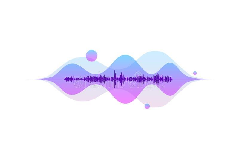 Ecualizador digital abstracto de onda sonora Concepto de elemento musical vectorial de flujo de luz en movimiento ilustración del vector