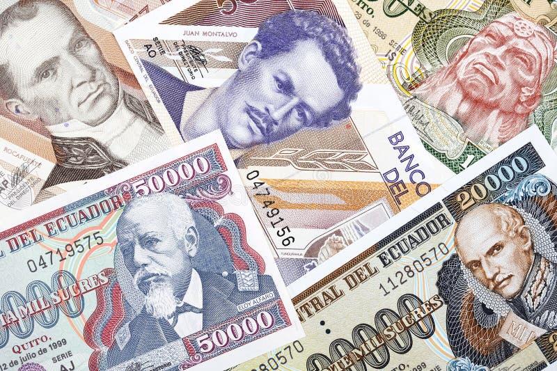 Ecuatoriaans geld, een achtergrond royalty-vrije stock afbeelding