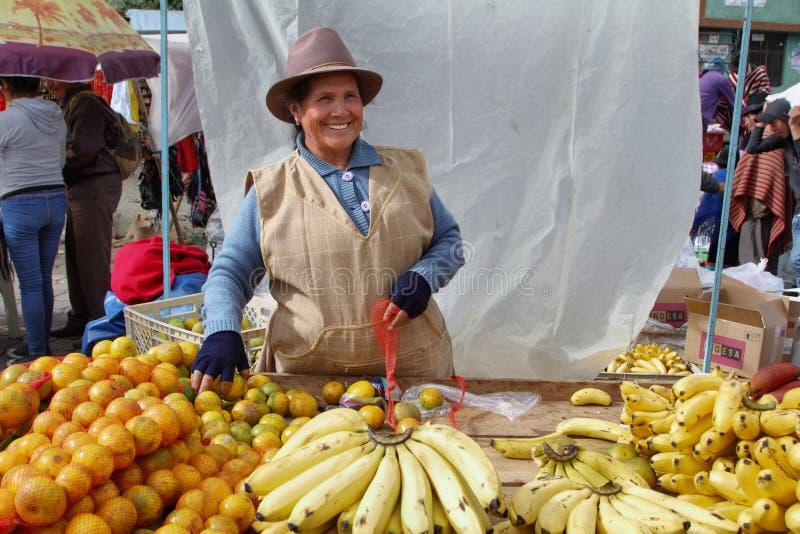 Ecuatoriaanse etnische vrouw met inheemse kleren die vruchten in een landelijke Zaterdagmarkt verkopen in Zumbahua-dorp, Ecuador stock afbeelding
