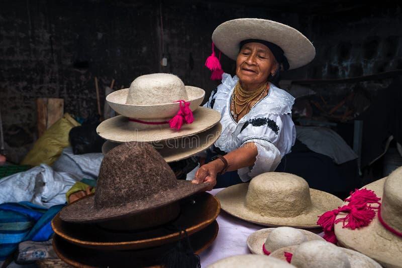 Ecuatoriaanse hoedenmaker stock afbeeldingen