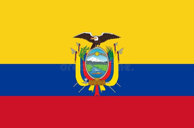 Ecuatoriaanse nationale vlag Officiële vlag van de nauwkeurige kleuren van Ecuador royalty-vrije illustratie
