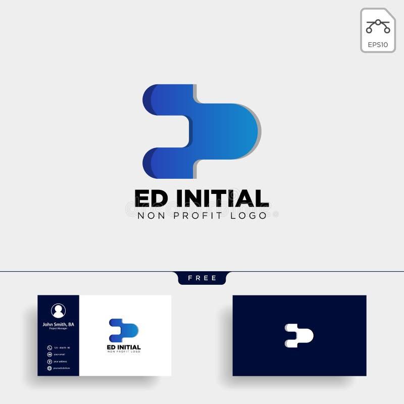 ed письма, e, d, творческий элемент значка иллюстрации вектора шаблона логотипа дела иллюстрация штока
