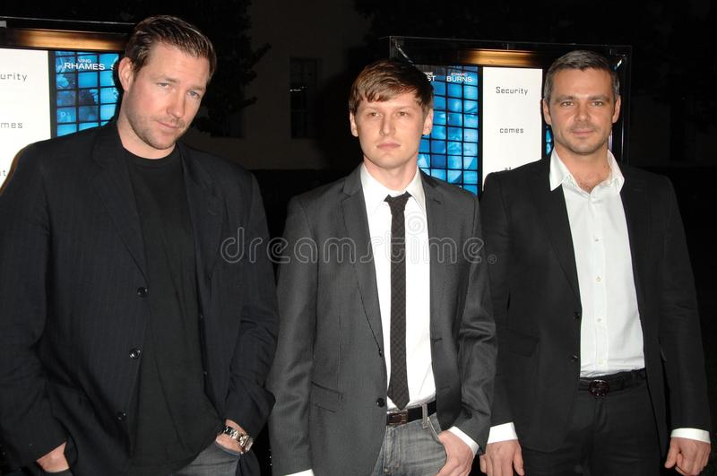 Ed Burns. With Greg Marcks and Sergey Gubanov at the World Premiere of 'Echelon Conspiracy'. Paramount Theatre, Hollywood, CA. 02-25-09 stock photo