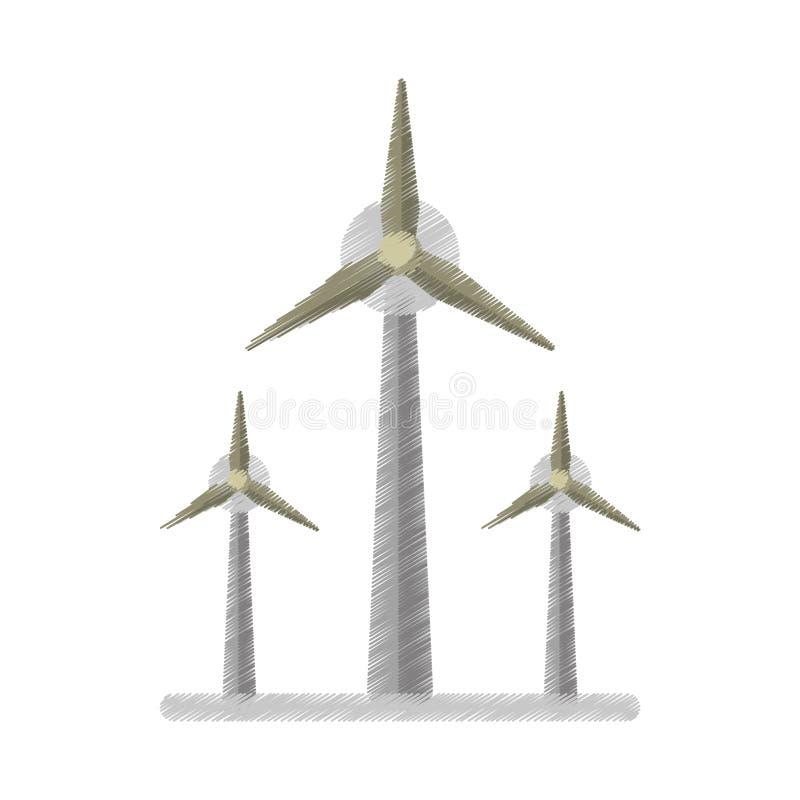 Ed de générateur de l'électricité de turbine de vent d'écologie illustration stock