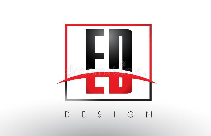 ED E D Logo Letters con colores rojos y negros y Swoosh stock de ilustración