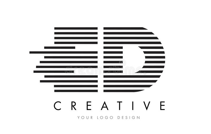 ED E D Zebra Letter Logo Design with Black and White Stripes royalty free illustration
