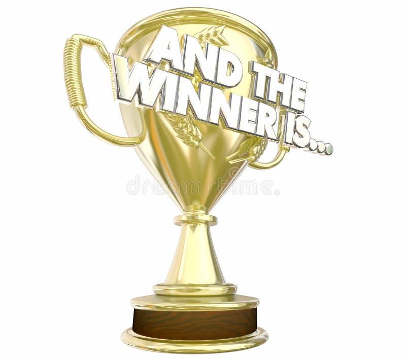 Ed il vincitore è annuncio del trofeo del premio illustrazione di stock