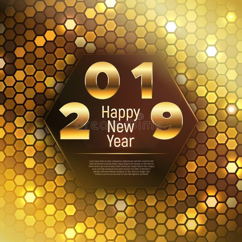 2019 ed insegna del buon anno nelle tonalità dell'oro illustrazione vettoriale