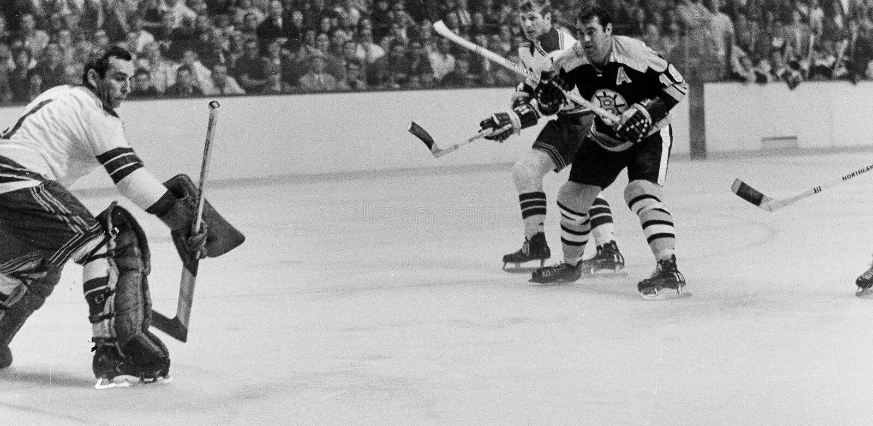 Ed Westfall and NY Rangers goalie Ed Giacomin royalty free stock images