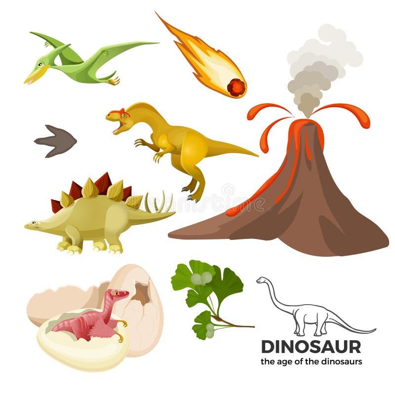 Edad de la bandera de los dinosaurios con el t-rex prehistórico de los depredadores, tiranosaurio, pterodáctilo, stock de ilustración
